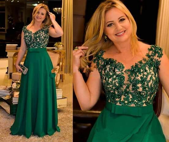 Green Plus Size Mother Of The Bride Evening Dresses V Neck Floor Length Appliques Sash Bow Illusion Bodice Women Bridal Guest Gowns 2019