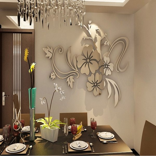 New Wall Stickers Gold Silver Acrylic 3D Mirror Flower Home Decor Vinyl Stickers For Children Kids Bedroom 40*60cm