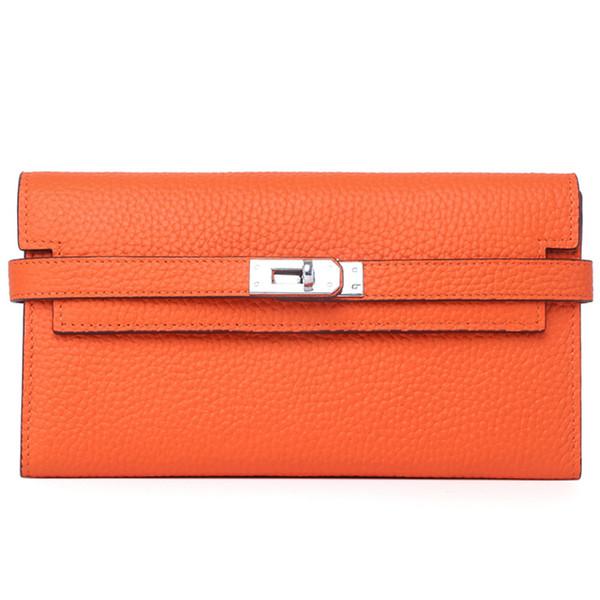 Vorhängeschloss Brieftasche Brieftasche Designer inspiriert Togo Leder Kupplung echtes Leder lange BK Stil Brieftasche für Frauen