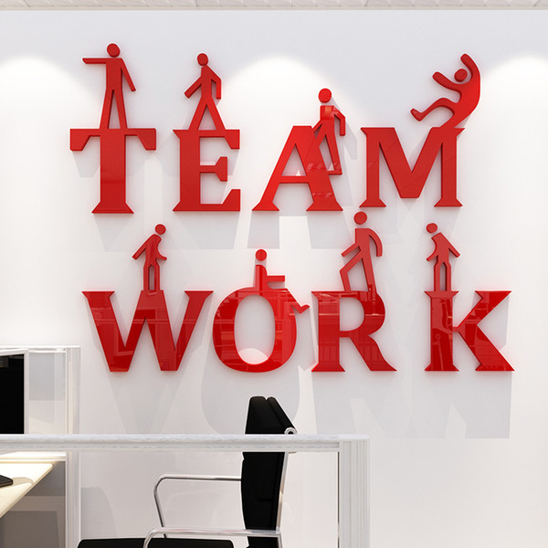 Team work 3d Acrylic mirror wall stickers Corporate culture wall decoration Office inspirational slogan DIY art wall decor