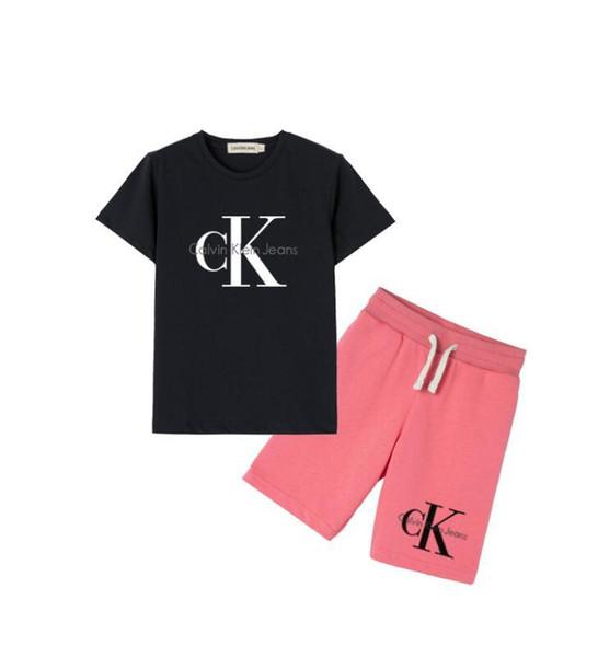 2019 Kinder T-Shirt Shorts Jungen Baumwollhemd Kinder Sportswear Basketball Set 2 Stück Set / Kurzarm Beach Bikini Free