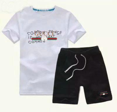 Yeni klasik Lüks Logo Tasarımcısı Bebek T gömlek + Pantolon 2-7 yıl olde Takım Çocuk moda çocuk 2 adet Pamuk Giyim Sets-01
