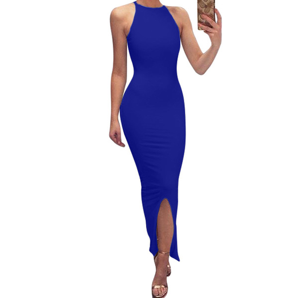 New women's clothing Sleeveless stitching side slit irregular dress Split sexy mid-rise waist dress
