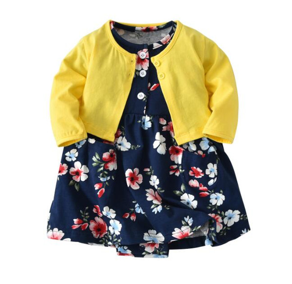 716ae3b77f0 2019 14designs Baby Girl Romper Dress And Long Sleeve Coats Suit Broken  Flower Printed Dresses Outer Wear Sets For Toddlers Months From Yu_zhao2,  ...