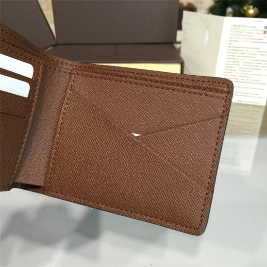 High Quality Fashion Designer Men's Short Bi-fold Brazza Wallet Old flower Brown Check Black Grid Cowhide Leather Wallet Card Case Gift Box