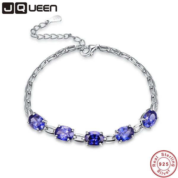 JQUEEN neue Hochzeit 925 silbernes Armband Tansanit Schmucksache-Qualität Blaue Steine Damen Armband-Schmucksachen Geschenk-Armband-Charme