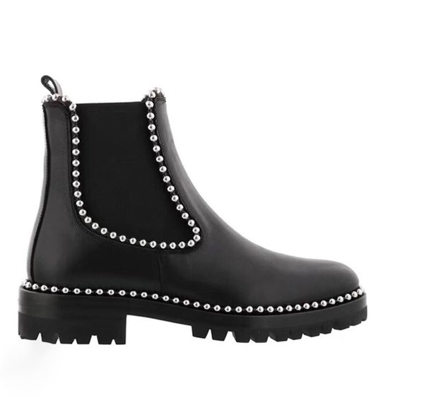 New European rivet Beaded boots ladies handsome short barrel leather stitching elastic cloth Martin boots calf leather