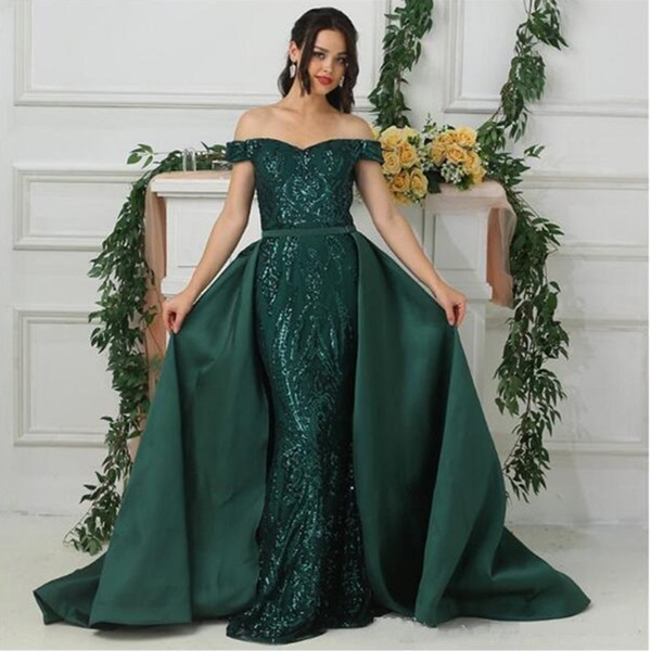 best selling Sexy Dark Green Mermaid Prom Dresses 2020 Sequins African Formal Evening Dress Party Wear with Detachable Overskirt robes de soirée