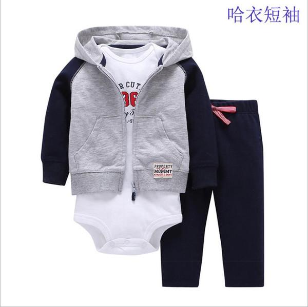44b38adec5c57 vêtements de printemps bébé garçon gris vestes à manches longues +  barboteuse + pantalon à rayures