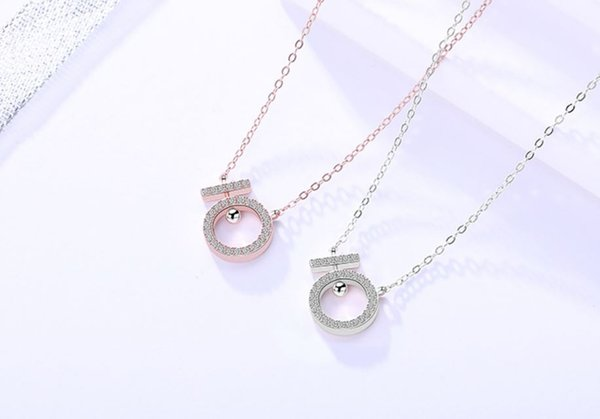 The fashion Zircon Necklace Geometric Form Friend Necklace Love of the light Sterling silver Pearl Necklace Women Girls Gift
