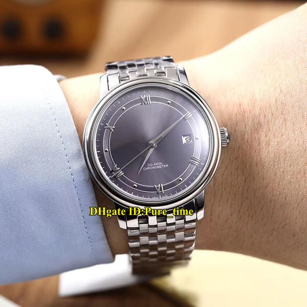 Ucuz Yeni 39.5mm 424.10.40.20.06.001 Grey Dial Miyota 8215 Otomatik Erkek İzle Safir Cam Paslanmaz Çelik Bant Yüksek Kaliteli Saatler