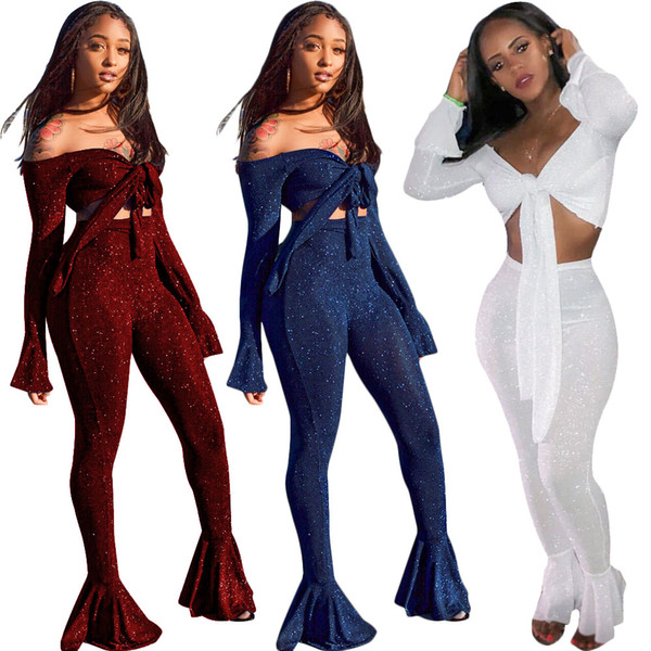 2e61af9504 women bow top Flares 2 piece set sportswear long sleeve bra flared trousers  outfits crop top
