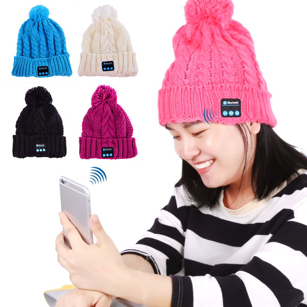 Soft Warm Beanie Hat Wireless Bluetooth Smart Caps Headphone Headset Speaker Mic Hat