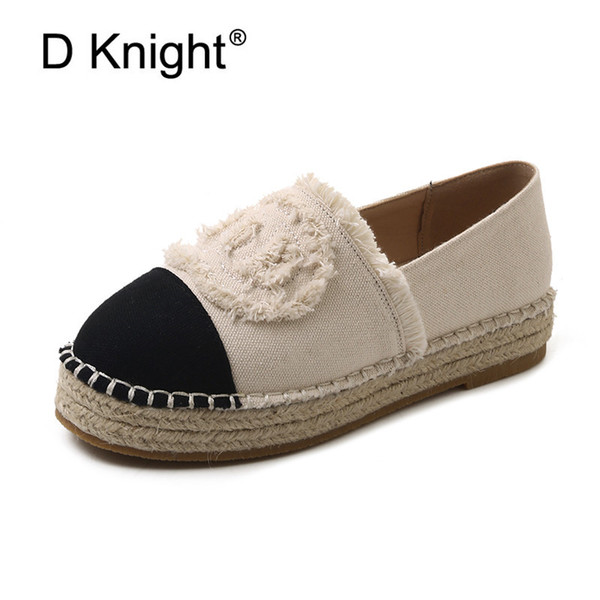 Women Espadrilles Straw Fisherman Shoes Flat Bottom Hemp Rope Breathable Female Loafers Spring Summer Casual Ladies Canvas Shoes