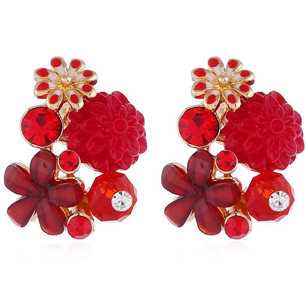 Presente Para Femal Flor Bonito Orelha Brincos de Cristal Fashional Orelha Pendent Rose Flor Ear Stud Várias Cores Para Decoração de Festa de Casamento