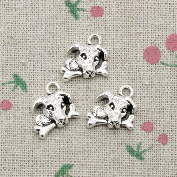 80pcs Charms Dog eat bone 14*15mm Tibetan Silver Vintage Pendants For Jewelry Making DIY Bracelet Necklace