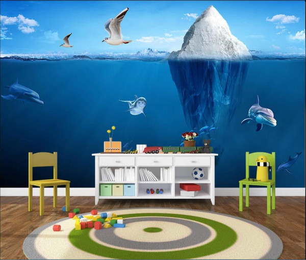 Acheter 3d Chambre Papier Peint Personnalise Photo Murale Bleu Glace Iceberg En Trois Dimensions Style Nordique Peinture Decorative De Chevet Papier