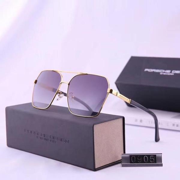 Verano para hombre Diseñador de metal Gafas de sol Gafas de sol de lujo Gafas protectoras Gafas de sol UV400 Modelo 0905 5 colores Opcional de alta calidad con estuche
