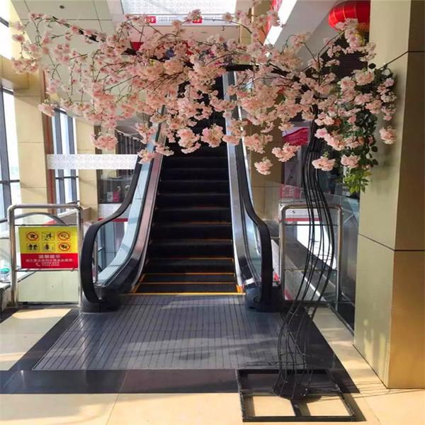 Düğün parti Dikmeler için Demir Arch Frame ile Beyaz Yapay Kiraz Çiçeği Ağacı yol kurşun Simülasyon Kiraz Çiçek