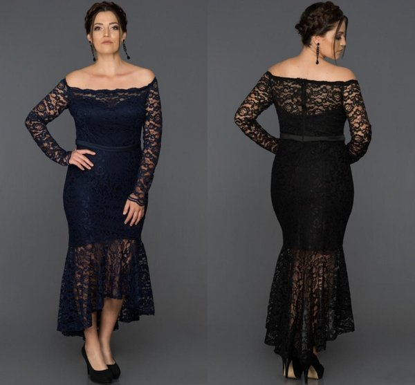2019 High Low Mermaid Lace Mother Of The Bride Dresses Off The Shoulder Plus Size Long Sleeves Wedding Guest Dress Tea Length Evening Gowns