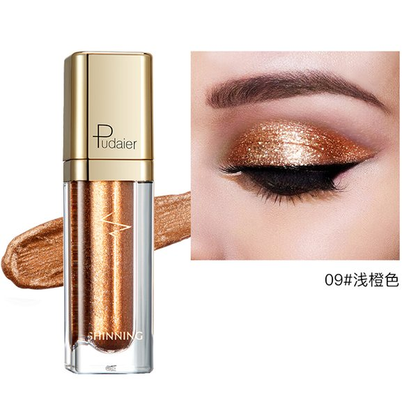 Горячая мода макияж тени для век мягкий блеск для макияжа мерцающие цвета тени для век жидкие тени для век металлик оранжевый