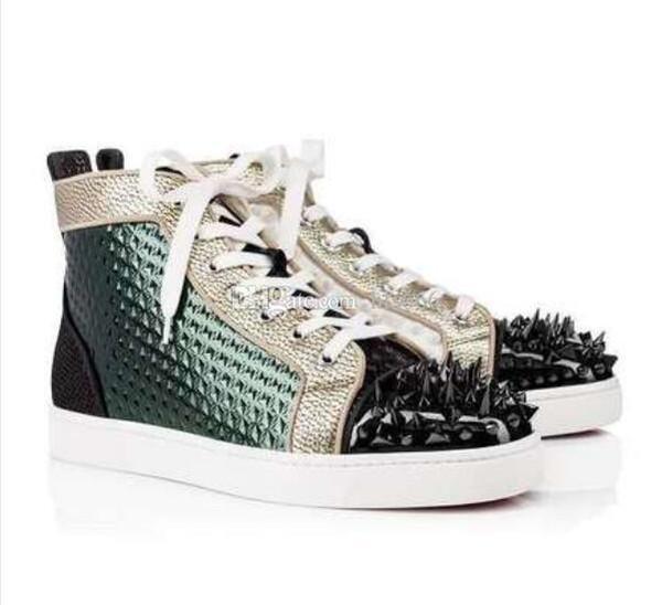 Yeni Lüks Tasarımcı Sneakers Erkek Kadın Günlük Ayakkabılar Parti Elbise Yüksek kesim Çivili Dikenler Platformlar kırmızı Alt Eğitmenler Ayakkabı Sneaker