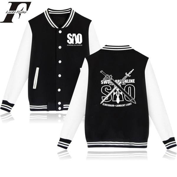 Anime Sword Art Online SAO Baseball Jacket print fashion men women Hoodies Sweatshirts casual Long Sleeve Jackets coats tops 4XL