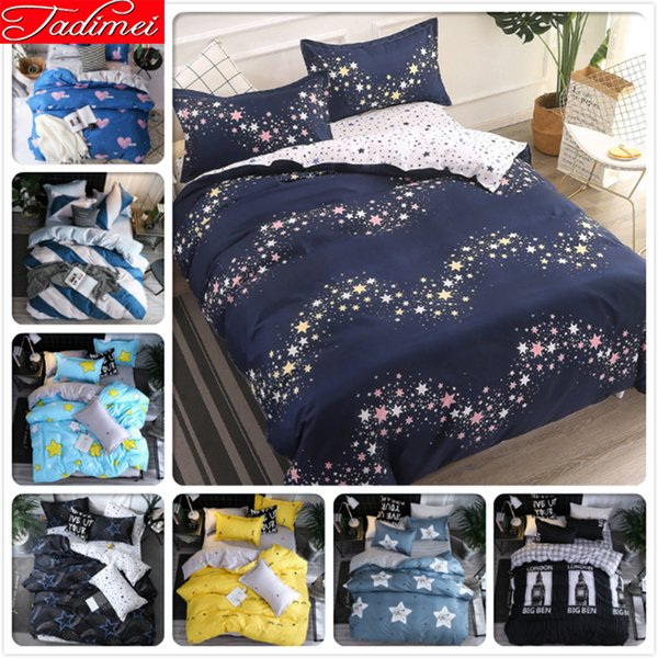Galaxy Star Pattern AB Double Side Duvet Cover 3/4 pcs Bedding Set Adult Kids Child Soft Cotton Bed Linen Single Queen King Size