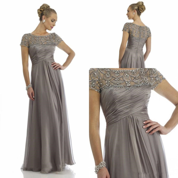 2019 Vintage Sheer Crystal Chiffon Mother Dresses 2019 Short Sleeve Rhinestone Ruffles Empire Scoop Neckline Mother Of Bride Groom Dresses