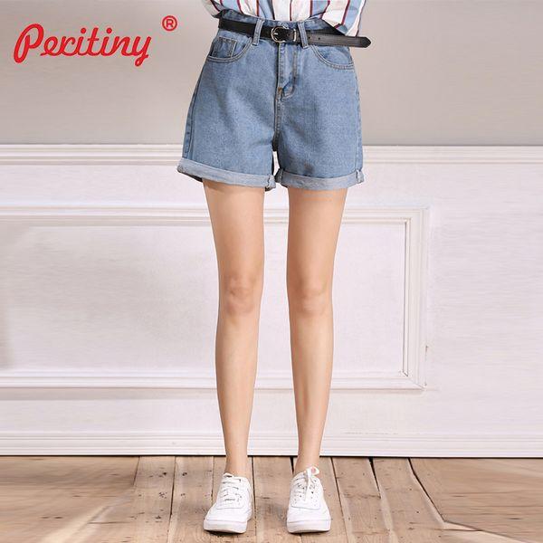 66cc074a4e Pantalones cortos de mezclilla Peritiny para mujeres Pantalones cortos de talle  alto con un cinturón Pantalones