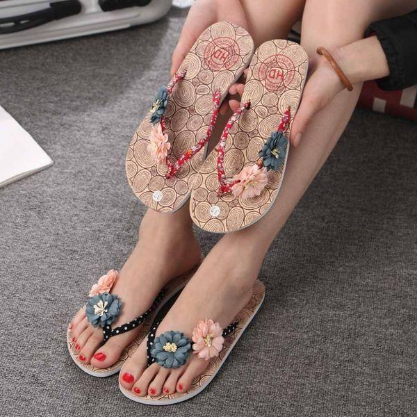 xiniu Summer Women's Non-Slip Flower Flip Flops Slippers Flat Beach Slippers Shoes Woman Slip on Flats Female Slides #030622