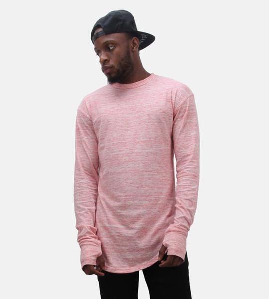 Longline Mens Designer T-shirts Gants À Manches Longues Design O-cou Bottoming Hiphop Rappeur Street