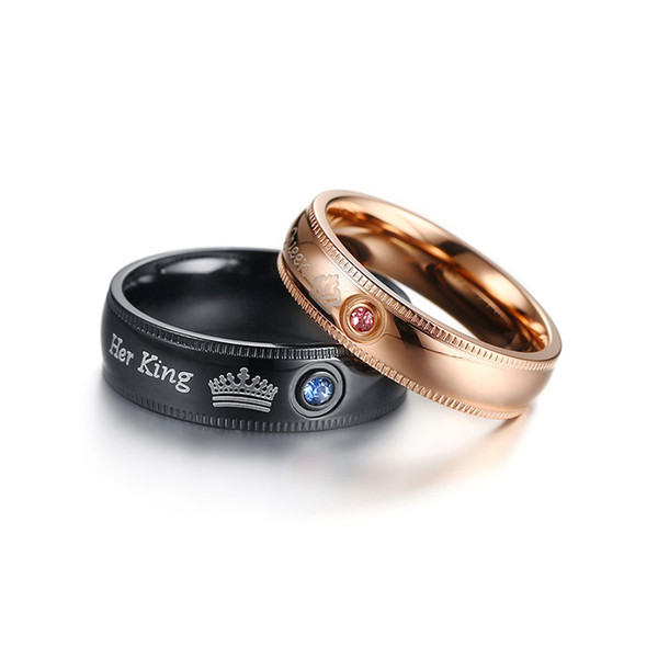 Couple Rings Her King His Queen Wedding Jewelry For Men Women Stainless Steel With Cubic Zirconia Engagement Gift CR-155