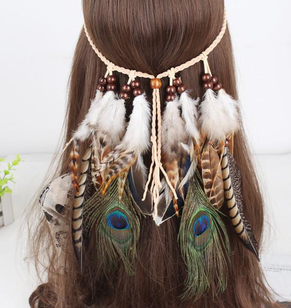 Bohemian Woman Headband Ethnic Style Piuma Accessori per capelli Copricapo Novità Copricapo Peacock Feather Hair Band Loop