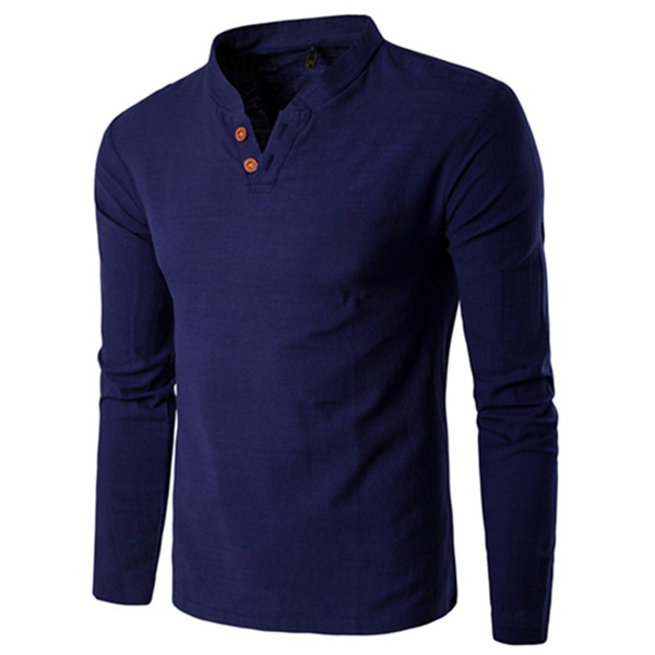 Men Long Sleeve Shirt Stand Collar Casual Slim Fit Solid Color Cotton Linen Two Buttons Shirt Camisas Para Hombre M-5XL