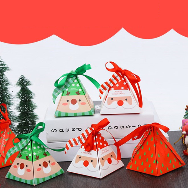 10 Pcs/set Merry Christmas Candy Box Bag Christmas Tree Gift Box With Bells Paper Boxs Gifts Cute Bag Container Supplies Navidad