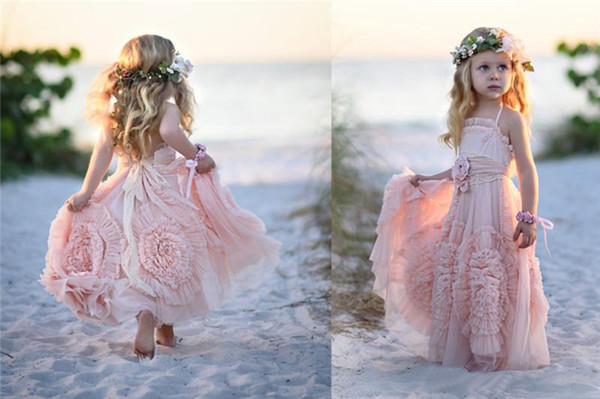 top popular Cheap Pink Flower Girls' Dresses For Wedding 2019 Lace Applique Ruffles Kids Formal Wear Sleeveless Long Beach Girl's Pageant Gowns 2019