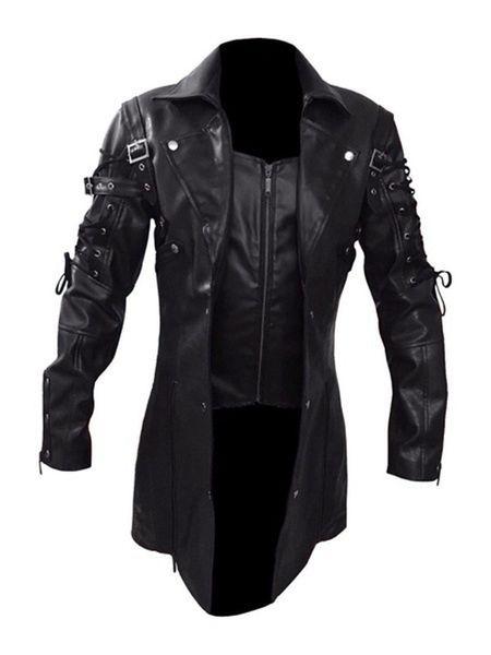 Men Leather Trench Coat Cool Motorcycle Hip Hop Jacket Lapel Tuxedo Designer Outerwear Lengthen Extravagant Windbreaker Trendy Males Wear