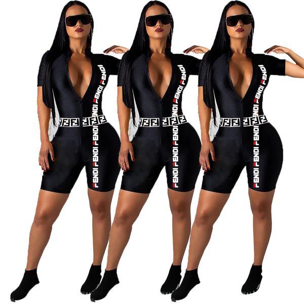 F Letter Jumpsuits Deep V Neck Short Sleeve Bodysuits Letter Printed Fashion Zipper Shorts Pants LJJO6760