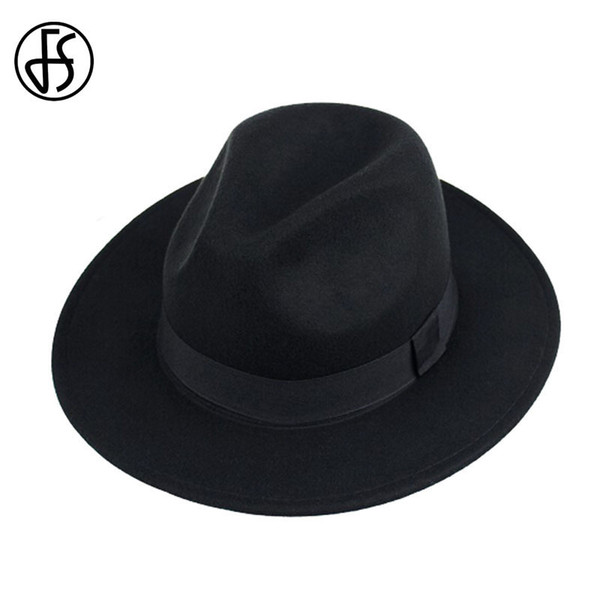 FS Unisex Black Trilby Hats For Men Godfather Vintage Wide Brim Felt Fedoras Hats Winter Man Jazz Caps Gorros Bowler Caps Women D19011102