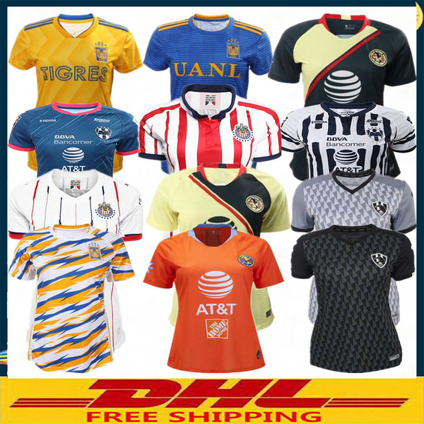 timeless design 02396 8ff62 2019 DHL 2018 2019 LIGA MX Club America Cuervos Charly Tigres UANL  Monterrey Chivas Women'S Soccer Jerseys Size Can Be Mixed Batch From  Pursue6699, ...