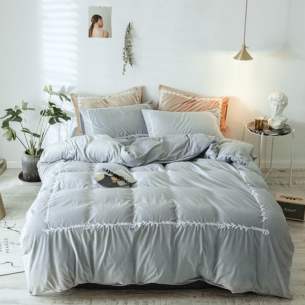 FB1901006 Nordic Faravon Double-sided Flannel Duvet Cover Pure Cora Double-sided Fur Baby Flannel Bed Linens Quilt Flannel Bed Sheet