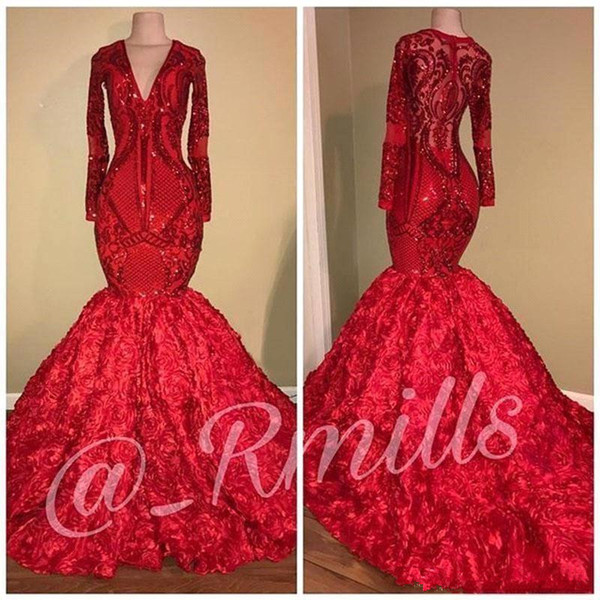 Gorgeous Long Sleeve Mermaid Red Prom Dresses 2019 Sequins Appliques Floral Ruffles Evening Dress Deep V Neck Party Gowns