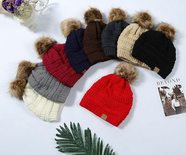 top popular Multi-Color Parents Kids CC caps Family Match Hats Kidscourful Hats Knitted Fashion Trendy Beanie Winter Over sized Chunky Skull Caps Soft 2020
