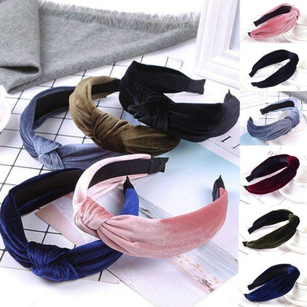 Women Headband Twist Hairband Bow Knot Cross Tie Wide Headwear Hair Band FG