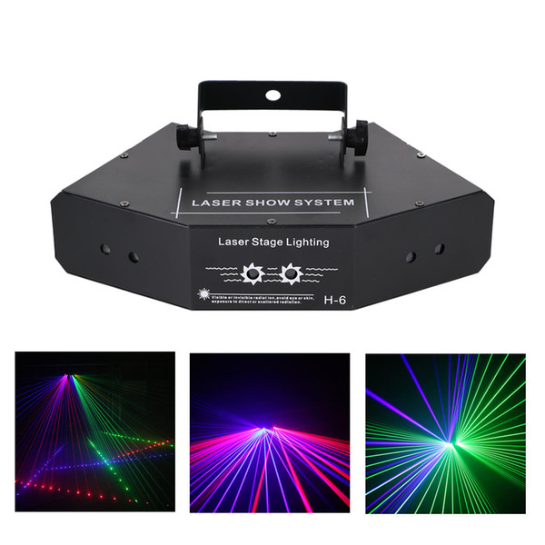 AUCD DJ 6 Lens RGB Beam Network Wondeful DMX Laser Stage Lighting Home Wedding Holiday Party Show Proiettore Effetto luce A-X6