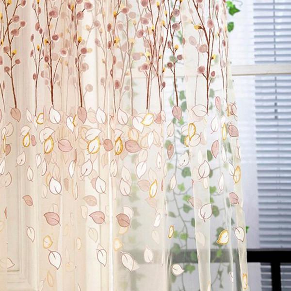 Floreale Tulle per porte e finestre Tenda drappo pannello Sheer Scarf Valances tende da cucina soggiorno finestra tenda di tulle