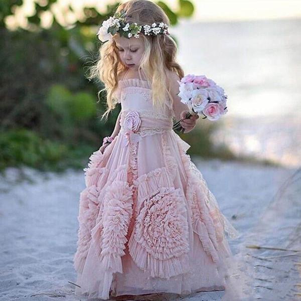 Bella Blush Pink Halter Beach tulle fiore ragazza abiti per sposa 2019 Bella Backless Boho Bambini festa di compleanno abiti