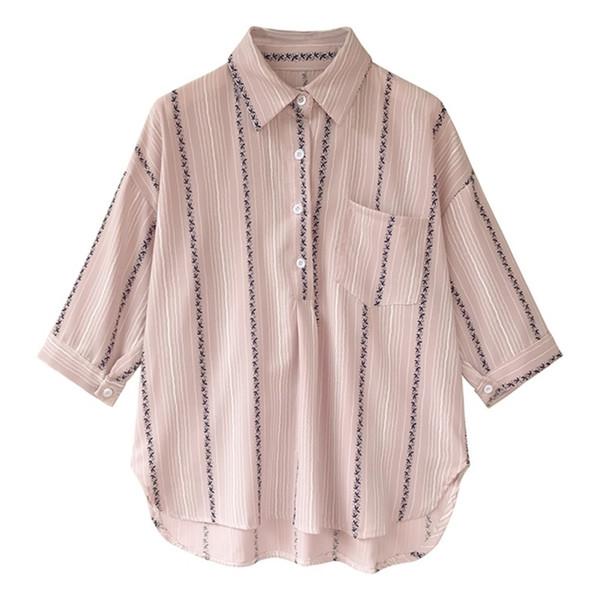 Kadın Artı Boyutu Kazak Gevşek Bluz Çizgili Yaka Yaka Yedi Noktası Kollu Katı Tek Toka Sonbahar Gevşek Rahat Gömlek SH190831