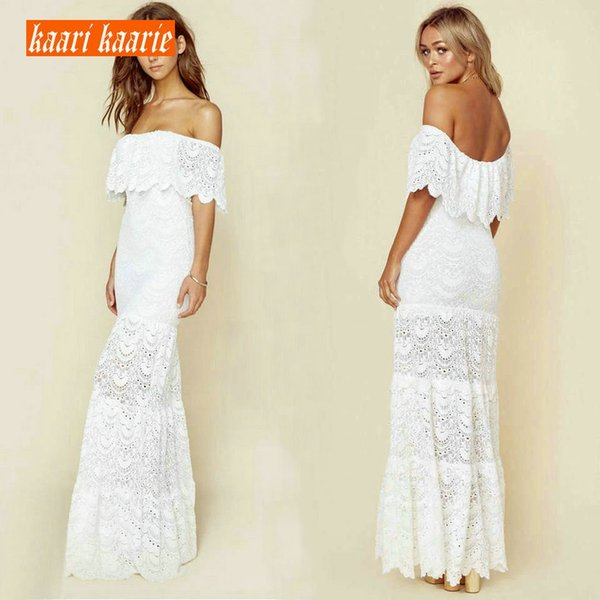 fashionable Ivory Lace Long Prom Dresses 2019 Sexy Ivory Prom Gowns Scoop Half-Sleeve Zipper Floor-Length cocktail Party